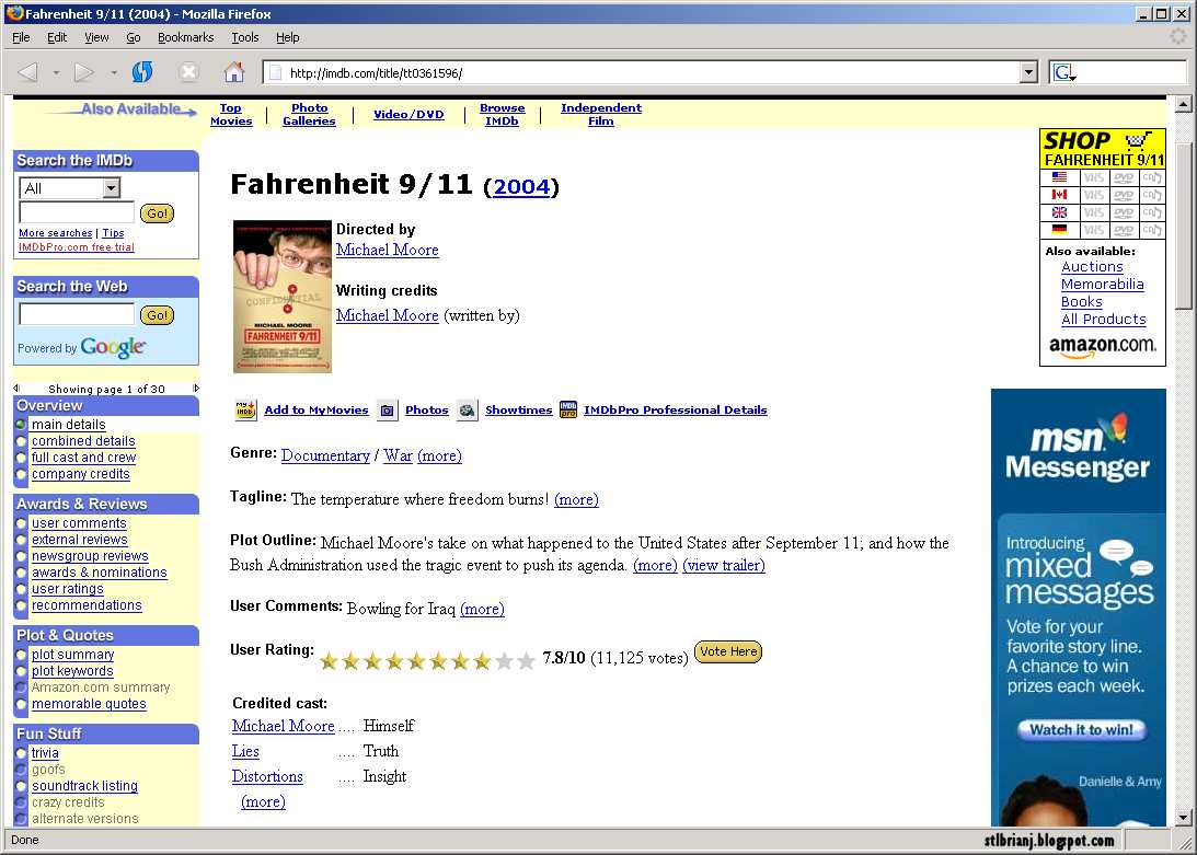Farenheit 9/11 imdb entry