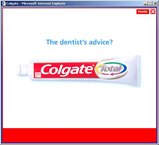 Freeze frame from Colgate ad