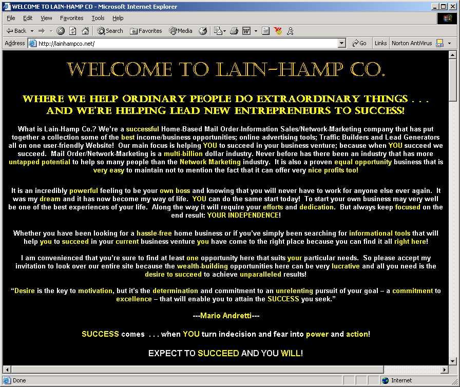 Lain Hamp Co ad